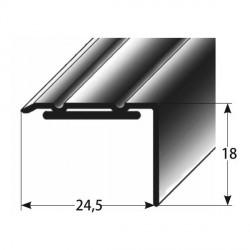 Úhlový profil 18x24,5 mm Aluminium elox., samolepící, dřevodekor-folie s SB balením