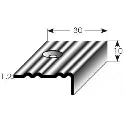 Schodová hrana 10x30x1,2 mm mosaz, profilované drážky, vrtaná s SB balením