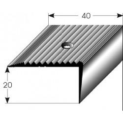 Schodová hrana 20x40 mm Aluminium elox., vrtaná