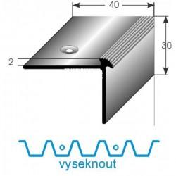 Vyseknutí upevňovacího ramene pro schodovou hranu 40x30x2 mm Aluminium elox., vrtaná